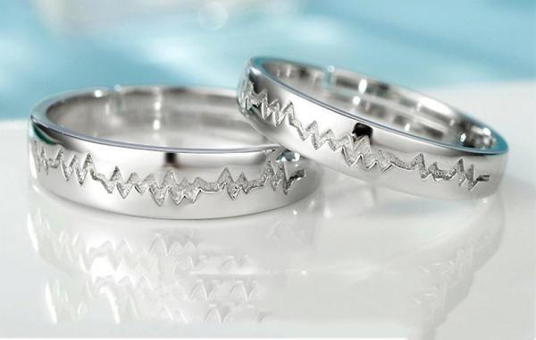Nhẫn cặp bạc khắc hình nhịp đập - Nhẫn đôi - Trang sức bạc Panmila [TS-ND-A5]