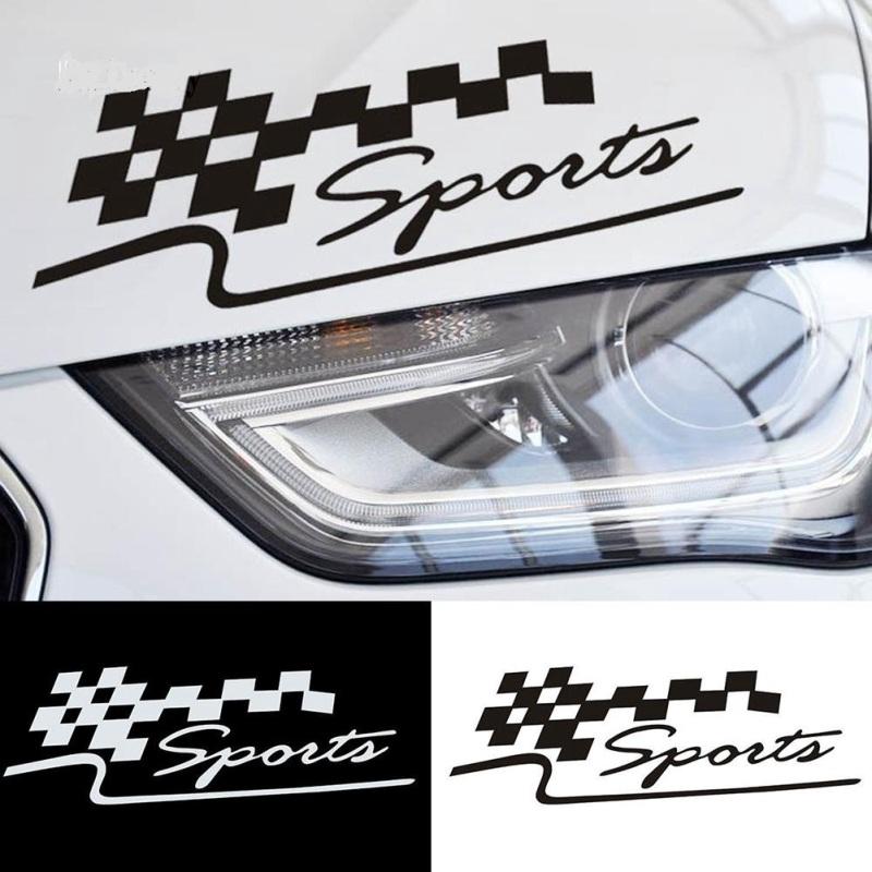 Tem Decal hình cờ đua chữ Sports - trắng 29cm