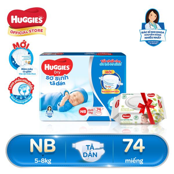 [Tặng 1 gói khăn ướt]-Tã dán sơ sinh Huggies NB74 (dưới 5kg) - Gói 74 miếng