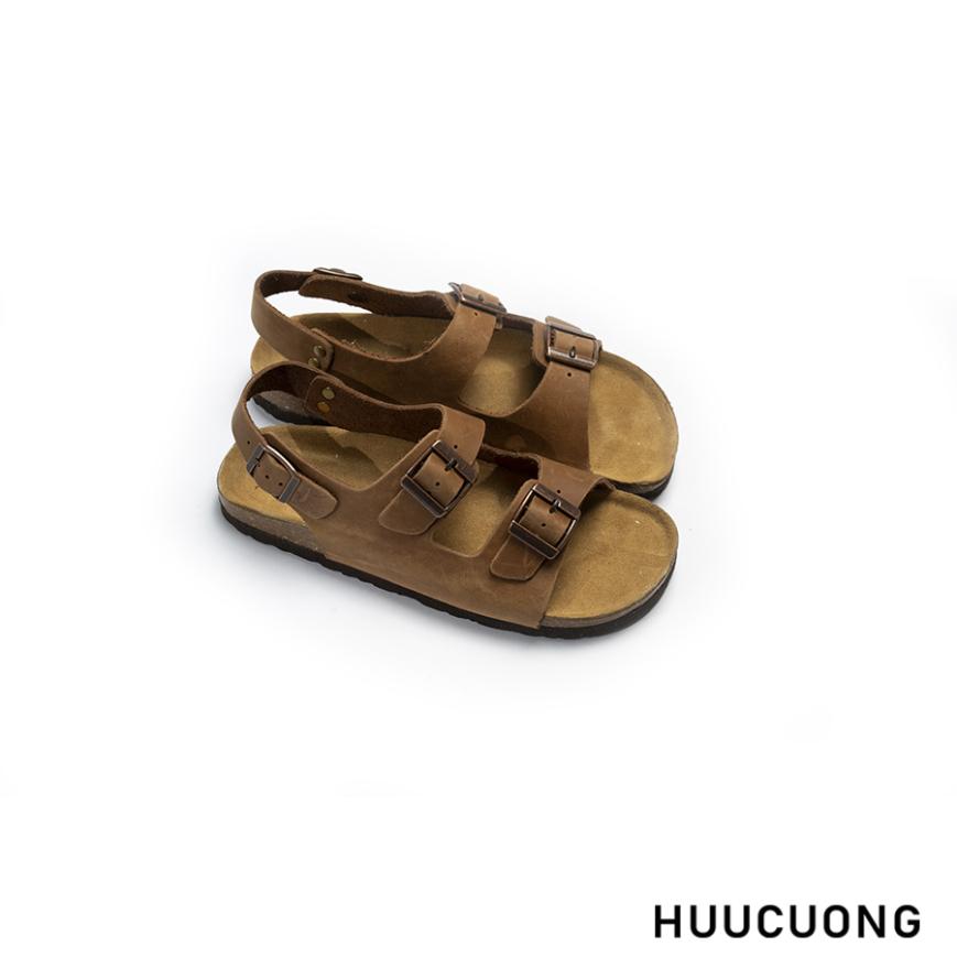 Sandal unisex HuuCuong - 2 khóa da bò nâu đế trấu giá rẻ