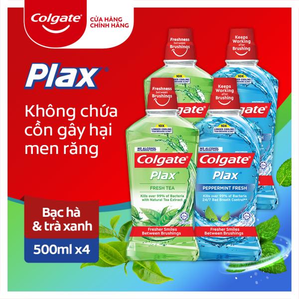 Bộ 4 nước súc miệng không cồn Colgate Plax hương bạc hà và hương trà xanh 500mlx4 cao cấp