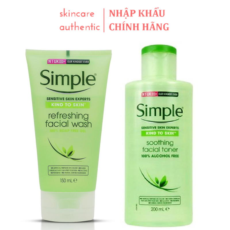 Combo Sữa Rửa Mặt + Toner Cho Da Nhạy Cảm Simple Kind To Skin Nội Địa UK, combo chăm sóc da mặt skincare cực hiệu quả