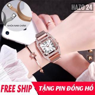 Đồng hồ nữ, đồng hồ dây kim loại nữ, đồng hồ dây nam châm nữ DZG dây nam châm mặt vuông nạm đá cực sang trọng, có 4 màu lựa chọn ( tặng pin ) thumbnail