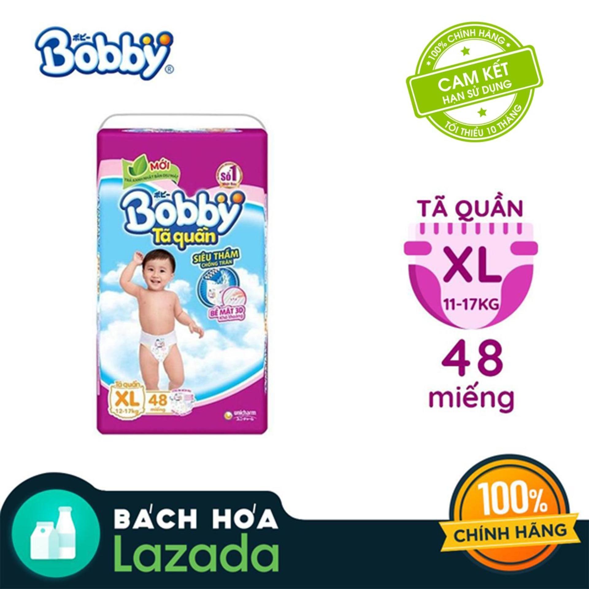 [Tiết kiệm] Tã/Bỉm quần Bobby gói siêu lớn XL-48 miếng...