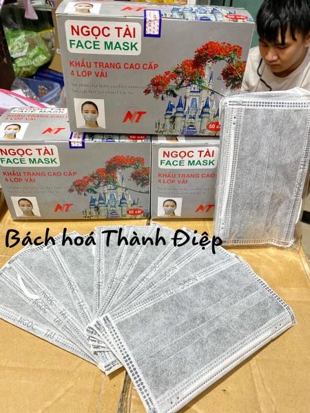 Khẩu trang  4 lop than hoat tinh Ngoc Tai  xám(1 hộp /50 cái )