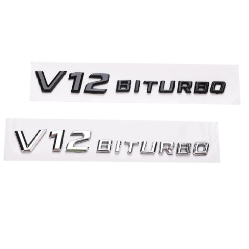 Decal tem chữ V12-Biturbo dán hông xe ô tô, xe hơi cao cấp Merce.des-benz (Chất liệu ABS cao cấp mạ crom)