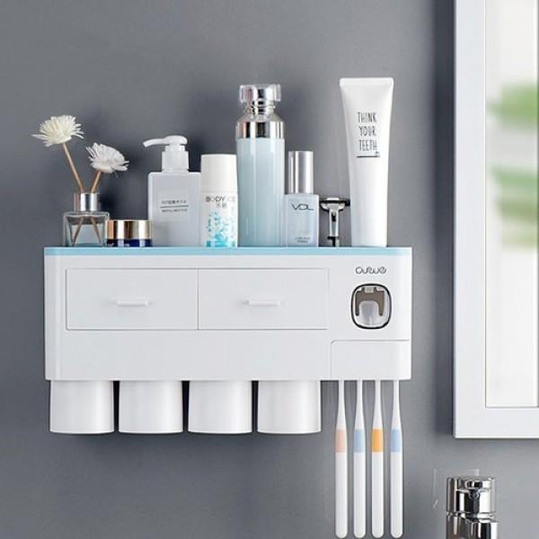 Bộ nhả kem đánh răng cao cấp 4 cốc mẫu mới 2020, kệ phòng tắm đa năng cao cấp kèm 4 cốc