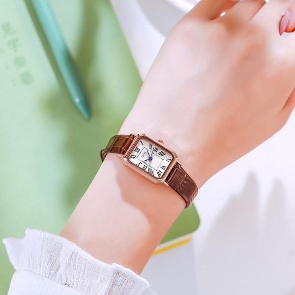 Nơi bán Đồng hồ nữ mặt vuông phong cách Hàn Quốc trẻ trung năng động - DHV02