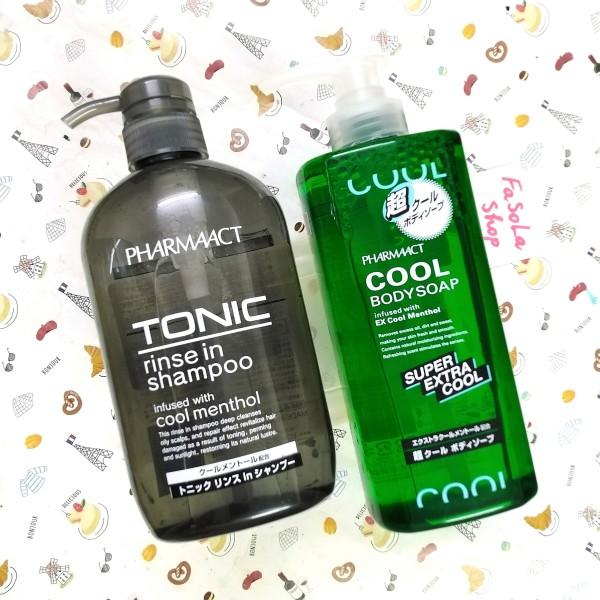 Bộ sữa tắm / dầu gội nam PHARMAACT Nhật Bản chai siêu to 600ml bạc hà mát lạnh cool bodysoap tonic shampoo giá rẻ