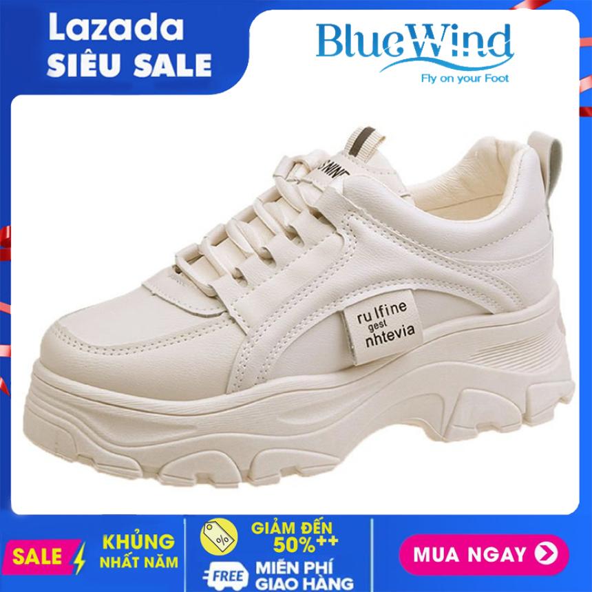 Giày thể thao nữ, Sneaker nữ Bluewind 68426 độn đế, da mềm dáng Ulzzang Hàn quốc giá rẻ