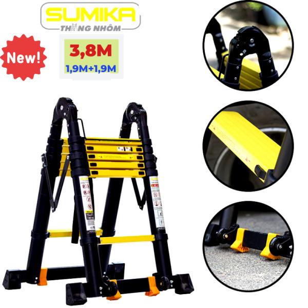 Thang nhôm rút đôi (Chữ A: 1,9m Chữ I: 3,8m) Sumika SK380D NEW - Chất liệu nhôm được sơn tĩnh điện, 2x6 bậc, tải trọng 300kg, bảo hành 2 năm