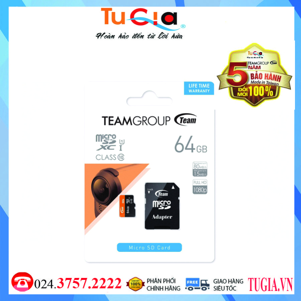 Thẻ nhớ Team 64GB tặng kèm Adapter - Hàng chính hãng