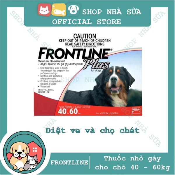 Thuốc Nhỏ Gáy Trị Ve và Bọ Chét Trên Chó  40kg - FRONTLINE PLUS DOG - 1 Hộp (6 tuýp)