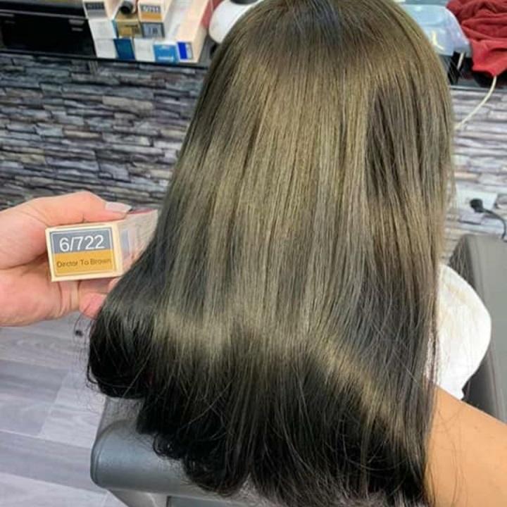 kem nhuộm tóc nâu rêu caitu 6.722 không tẩy tặng trợ dưỡng găng tay