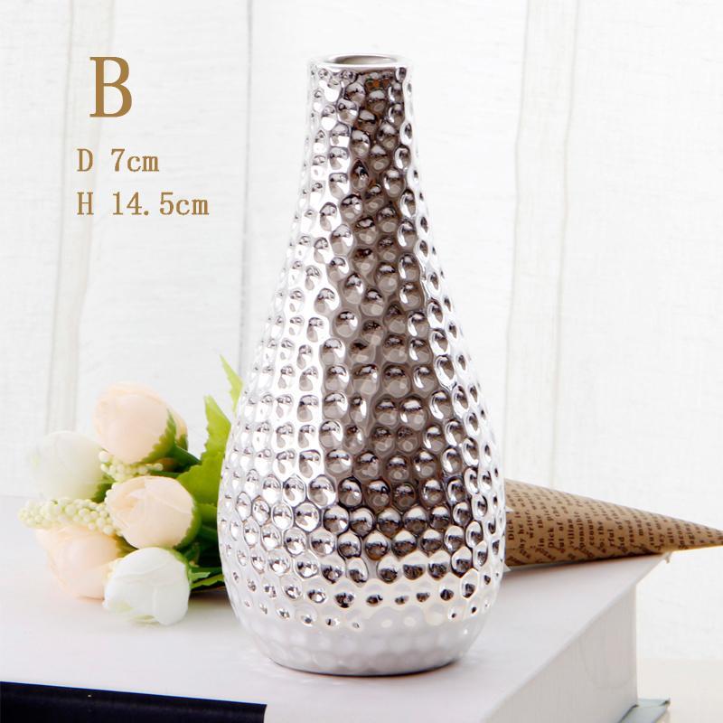 European Style Electroplated Silver Ceramic Small Vase Modern Minimalist Domestic Ornaments Desktop Vase