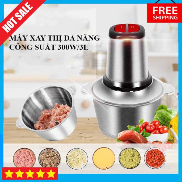Máy xay thịt gia đình, Máy xay thịt đa năng KINOSUNN 3L, công suất 300W siêu khỏe, Cối Inox chịu nhiệt tốt, bền đẹp, Lưỡi dao sắc bén