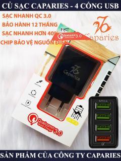 CỦ Sạc CAPARIES Quick Charge 3.0 Siêu Bền 4 USB - Chống Nóng Đúc Nguyên Khối Sạc Nhanh 3.0 Thương Hiệu CAPARIES sạc nhanh quickcharge 3.0 tương thích tất cả các dòng máy - Giới hạn 1 sản phẩm khách hàng thumbnail