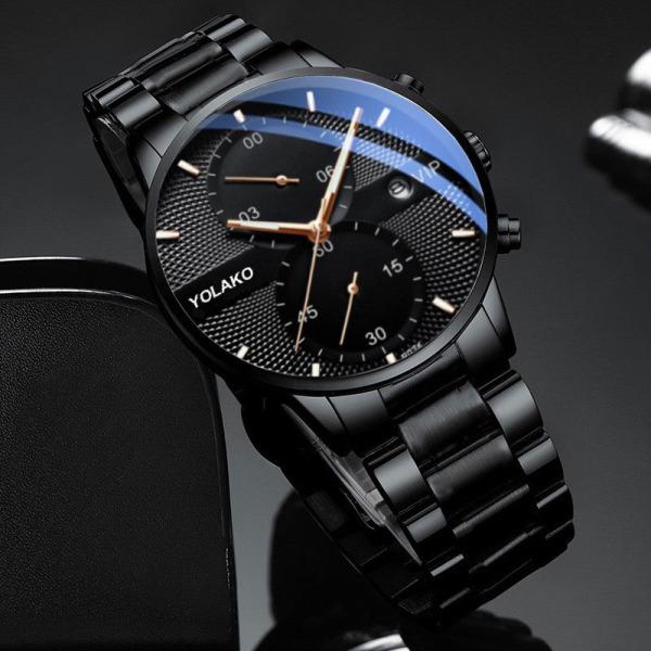 Đồng hồ nam ECONOMICXI dây thép lụa đen thiết kế lịch lãm chạy lịch ngày cao cấp YLK009 (full hộp) bán chạy