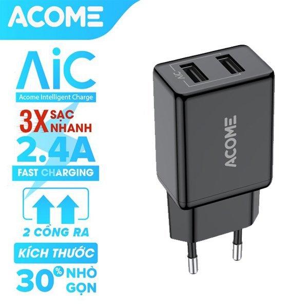 [Bảo Hành 12 Tháng] Sạc ACOME AC03 2 cổng sạc nhanh 2.4A tương thích với dòng điện thoại Android IOS an toàn khi sạc - Hàng Chính Hãng