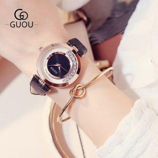 Đồng hồ nữ GUOU 8039 viền đá xoay lịch sự sang trọng thumbnail
