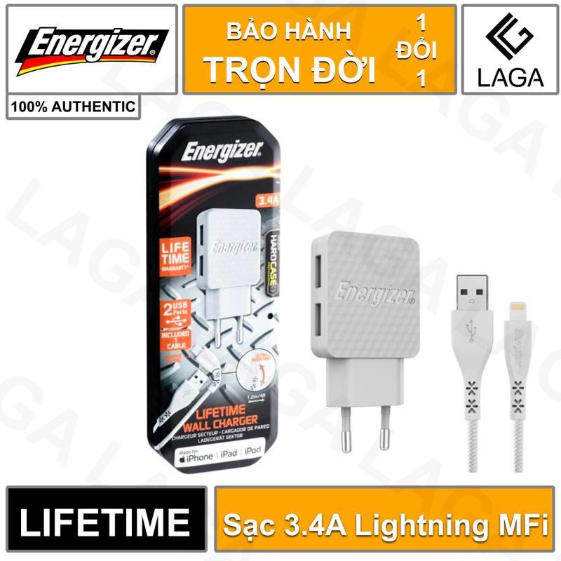 Sạc Energizer Lifetime Warranty 3.4A 2 USB kèm cáp Lightning MFi 1.2m - AC2CEULLIM
