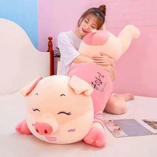 Gấu bông heo ngủ mặc áo Hồng siêu khổng lồ siêu mềm mịn siêu kute kích thước 1m4. thumbnail