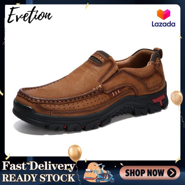 Evetion Giày nam bình thường Giày đi bộ đường dài ngoài trời Giày da chống trơn trượt và chống thấm nước Giày thể thao nam da bò lớp thứ nhất Giày nam công sở thoải mái và thoáng khí Giày kiểu đơn giản Giày cao su giá rẻ