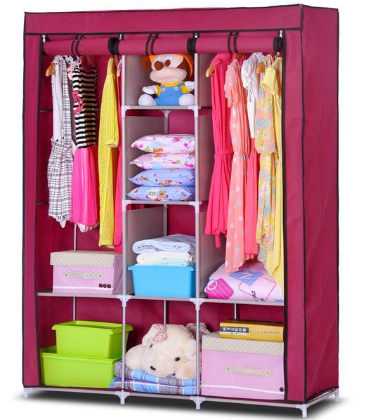 Tủ Đựng Quần Áo 3 Buồng 8 Ngăn Inox Bọc Vải Cao Cấp, Tủ vải quần áo cỡ đại 2 buồng quần áo (Được chọn màu)