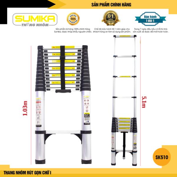 Thang nhôm rút gọn SUMIKA SK510 - Chiều cao tối đa 5.1m, chiều dài rút gọn 1.03m, hợp kim nhôm cao cấp, khóa chốt chắc chắn, đế cao su chống trượt, nhỏ gọn, di chuyển tiện lợi