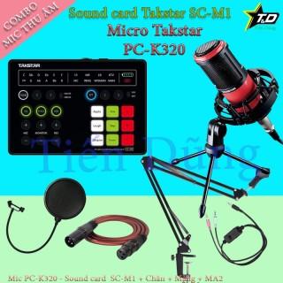 Bộ mic thu âm Takstar PC - K320 sound card SC M1 có autu-tune đi dây livestream MA2 chân đế màng lọc thumbnail