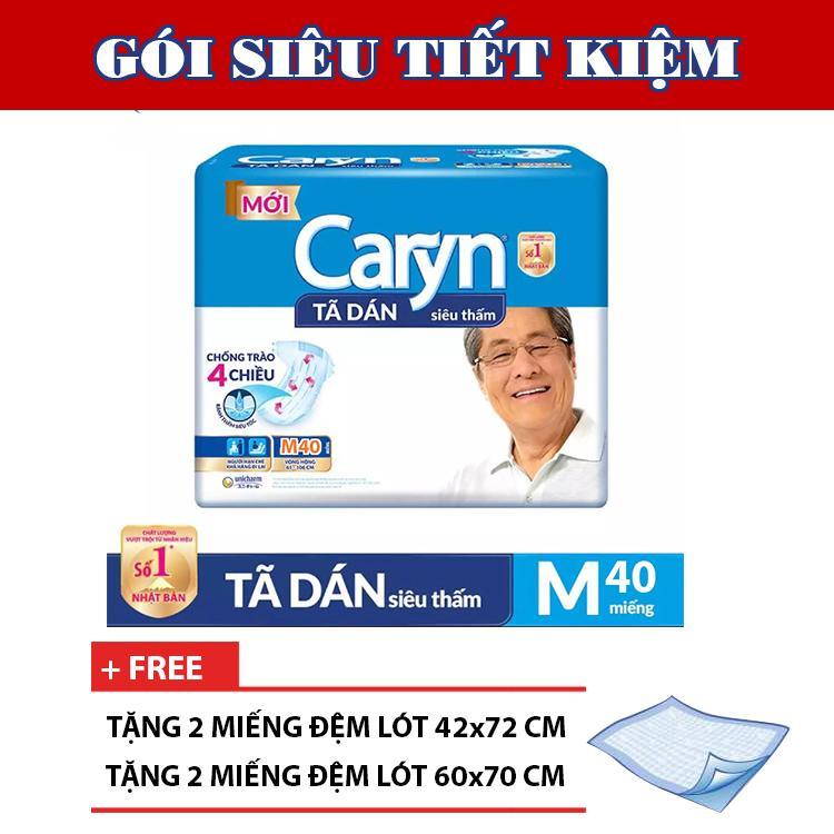[Tặng 4 tấm đệm lót] Tã dán người lớn siêu thấm Caryn M40 40 miếng - Gói mới siêu tiết kiệm