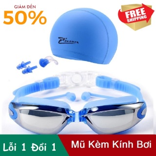 Sét Mũ Kính Bơi Cao Cấp - Combo kính bơi mũ bơi, Kính bơi UV kèm Mũ bơi và 2 nút bịt tai, Thiết Kế Mới Thông Minh, Kiểu Dáng Hiện Đại, Thoải Mái Bơi Lội, Giá Rẻ Bất Ngờ thumbnail