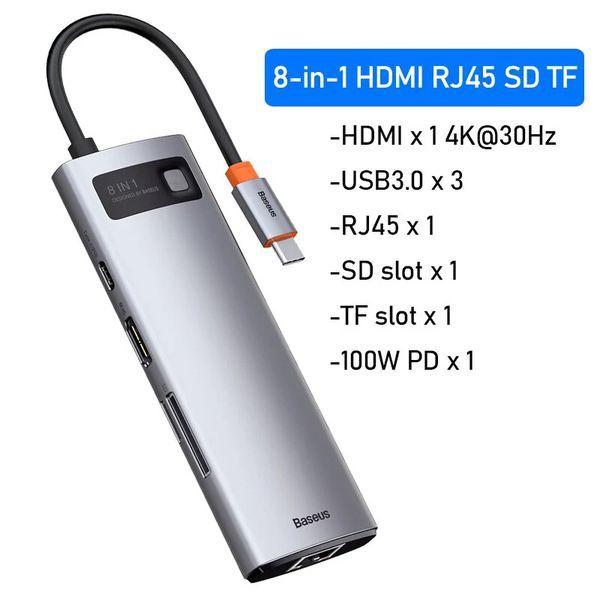 Bảng giá Bộ Hub mở rộng 8 in 1 Baseus Metal Gleam Series LVM001 Phong Vũ