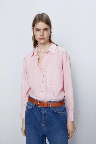 Áo Sơ Mi Nữ Zara Striped Pocket Shirt Màu Đỏ Trắng