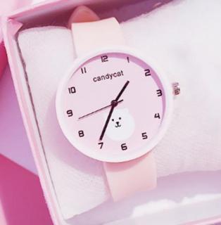 Đồng hồ dây cao su nữ Candycat hình gấu trắng cute, dây cao su mềm mại (xanh ngọc, hồng) JP thumbnail