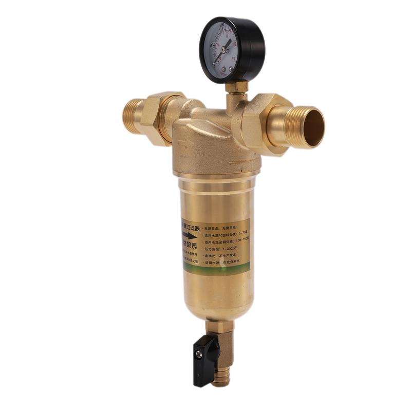 1 Inch to 3/4 Inch Full Copper Pre-Filter High Temperature Geothermal Floor Heating Filter Backwash Filter with Pressure Gauge