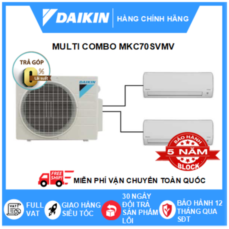 Máy Lạnh Multi Combo MKC70SVMV/CTKC35RVMV+CTKC35RVMV – 3hp – 24000btu Inverter R32 - Điều hòa chính hãng - Điện máy SAPHO