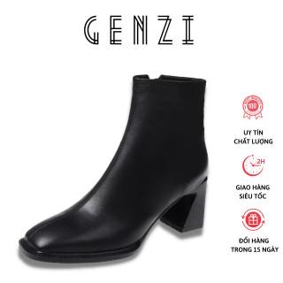 Giày boots nữ da mềm khóa sườn đế vuông 7cm cao cấp bốt thời trang cá tính TẶNG KÈM nước lau giày và khăn lau đa năng-Boot mùa đông thumbnail