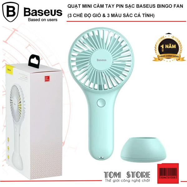 Quạt mini cầm tay pin sạc Baseus Bingo Fan với 3 chế độ gió thuận tiên nhỏ gọn dễ dàng mang đi du lịch với 3 màu sắc