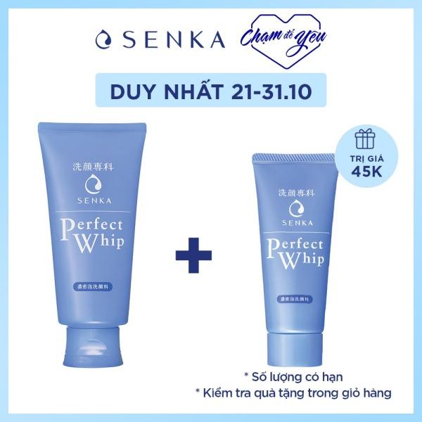 Sữa rửa mặt sạch hoàn hảo ẩm mịn tự nhiên với bọt tơ tằm trắng Senka Perfect Whip 120g số 1 Nhật Bản