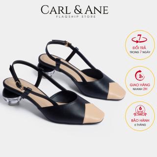 Carl & Ane - Giày cao gót thời trang mũi vuông vá si gót mica trong phối dây tinh tế cao 5cm CL007 (NU) thumbnail