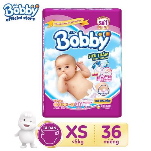 Tã dán sơ sinh Bobby XS36 ( kèm quà)