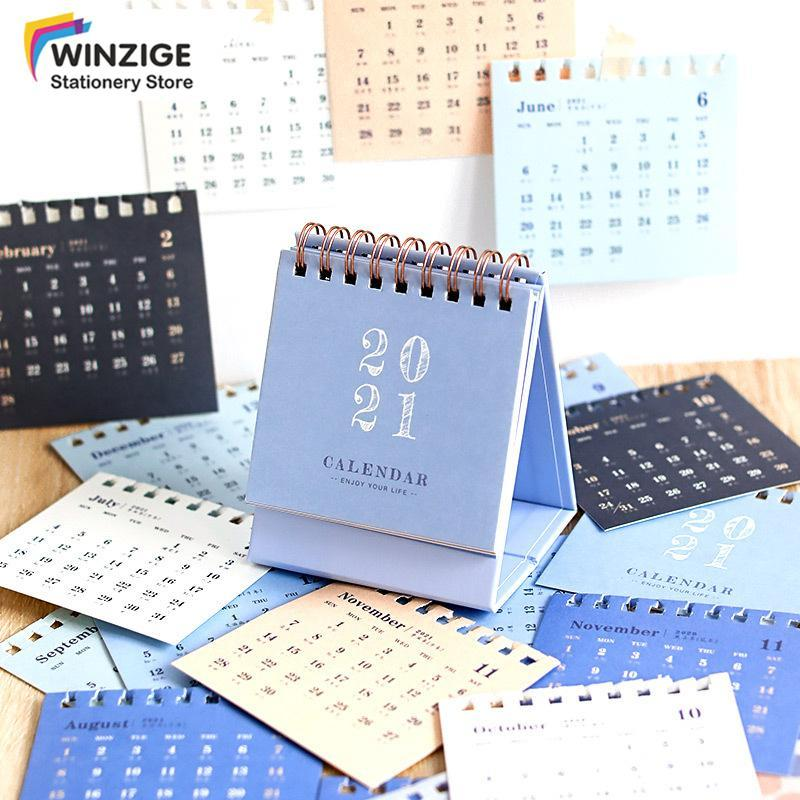 Winzige 2021 Ins Mini Morandi Lịch Máy Tính Để Bàn Nhật Ký Kế Hoạch Văn Phòng Phẩm Sinh Viên