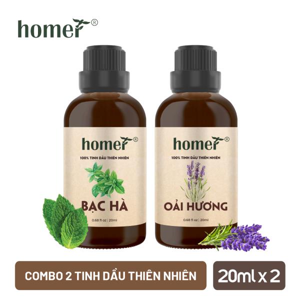 Combo 2 chai tinh dầu Homer - Huong Bạc hà, Oải hương - Dung tích 20ml/100ml giá rẻ