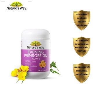 Viên uống dầu hoa anh thảo của úc giúp đẹp da, cân bằng nội tiết tố evening primrose oil Nature s Way 200 viên thumbnail