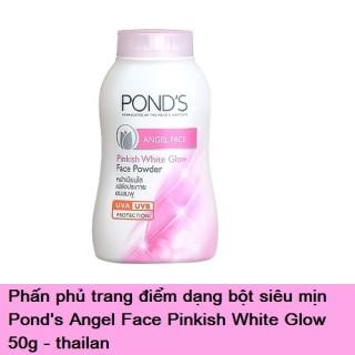 Phấn Phủ Dạng Bột Siêu Mịn Pond s Angel Face Pinkish White Glow Bột phấn giúp làm sáng da, che khuyết điểm và chống nắng, giúp làn da khô thoáng, tươi tắn rất tự nhiên. Bột phấn rất mịn, sử dụng được rất lâu, mùi thơm dịu thumbnail