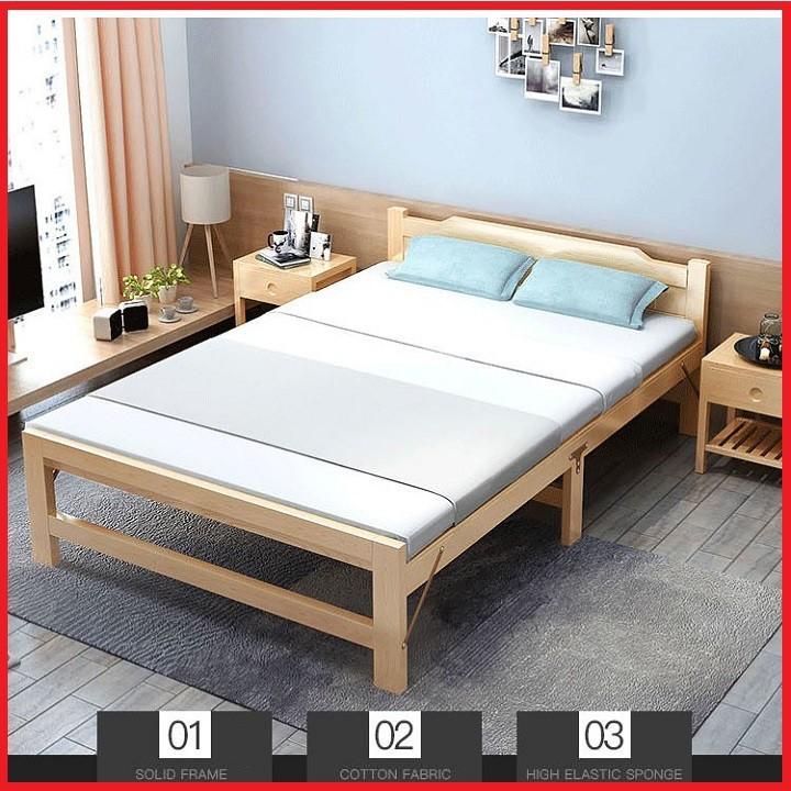 Giường Ngủ Gỗ Thông Gấp Gọn, Kích Thước 120x195cm, Tặng Kèm đệm, Gối - Giường Xếp Gọn ,Giường Ngủ Gấp Gọn Giá Rẻ Bất Ngờ
