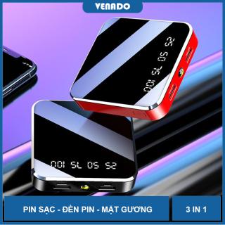 [Tặng Khẩ.u Trang] Pin Sạc Dự Phòng Power Bank Mini 10000 mAh Sạc nhanh điện thoại nhỏ gọn bỏ túi Có chức năng đèn pin đi đêm tiện lợi- Venado thumbnail