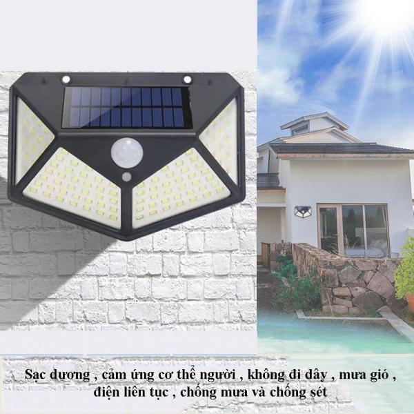 Đèn 100 Led Pha Năng Lượng Mặt Trời Cảm Biến (KIM) - LEON STORE - Đèn Led Năng Lượng Mặt Trời, Dễ Dàng Lắp Đặt, Thiết Kế Kính Cường Lực Sang Trọng.