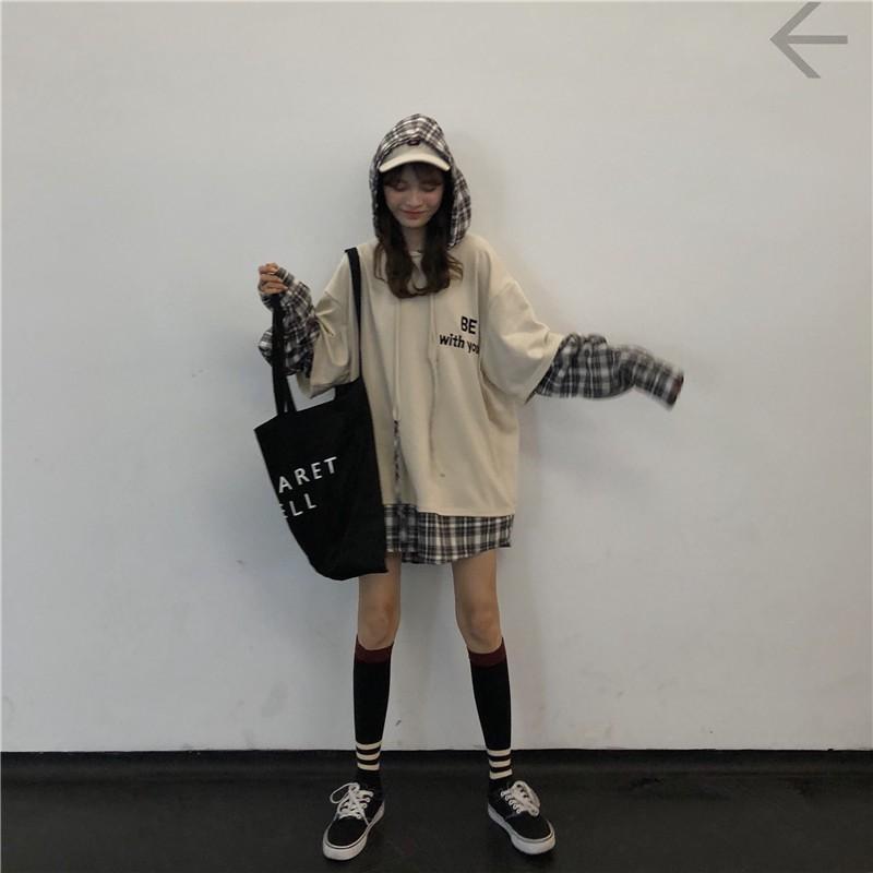 Áo hoodie dài tay nam nữ  pha tay sơ mi BE WITH ME Form rộng uzzlang (Thời trang hàn quốc thu đông) - 3